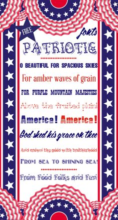 My favorite FREE Patriotic Fonts that are perfect for Memorial Day, Veterans Day and The 4th of July.