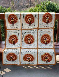 L001 Holiday Afghans 1 Crochet Pattern Leaflet- http://www.maggiescrochet.com/holiday-afghans-1-pattern-leaflet-p-474.html#.UVNuQVeNpZ0 #crochet #pattern #afghan #turkey #thanksgiving #decoration