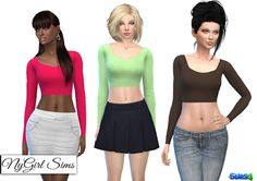 NyGirl Sims 4: Fitted Scoop Neck Long Sleeve Crop Top