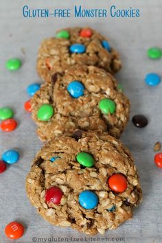 Gluten-free Monster Cookies -  Recipe for Peanut Butter Oatmeal Chocolate Chip M&M cookies! A favorite!