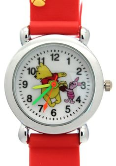 TimerMall Winnie The Pooh Pattern Water Resistant Red Band Children's Sport Watches. Description: The watches has a winnie the pooh pattern and round dial which band is made of rubber.The funny cartoon style watches with its cute styled character. And this kind of watch is especially designed for children a which is very reasonable and light. However it can waterproof so you can wear it in all seasons.Clear standard numbers and bright colours make this watches appealing and attention...