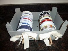 clementine box turned ribbon rack