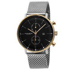 Akribos Xxiv Men's Swiss Quartz Multifunction Mesh Silver-Tone Strap Watch