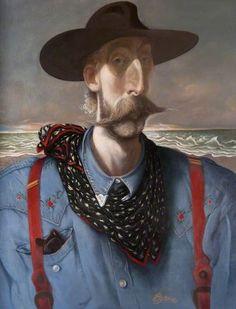 Self Portrait in Stetson  by John Byrne