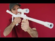 Airsoft Machine Gun Sniper Rifle DIY PVC Homemade Blowgun - YouTube
