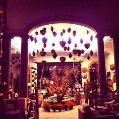 Mexican decor: Tlaquepaque glass hearts