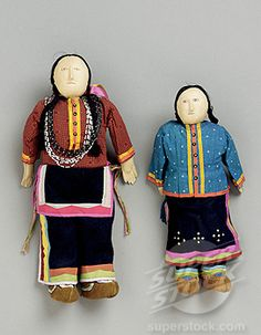A Pair of Santee Sioux Beaded Hide and Cloth Dolls Native American Art Beads, cotton and leather (866-5508 / tap120104156 01 © Christie's Images Ltd.)