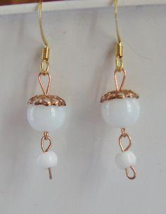 White Beaded Dangle Earrings white earrings by nonie615 on Etsy, $3.99