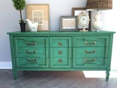 Annie Sloan painted dresser. Painted in 50/50 mix of Florence & Antibes Green and finished with dark wax.