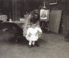 "Mary Pickford and her niece Gwynne on the set of ""Rebecca of Sunnybrook Farm"""