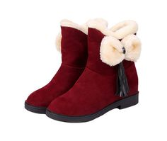Huafeiwude Womens Warm Cute Bowknot Tassels Winter Ankle Fur Snow Boots Red 39 ** Check out the image by visiting the link.