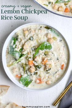 This chickpea vegan soup with rice is bright and creamy with a delicious hint of lemon. It's an easy one pot meal made with pantry staples and packed with soul-soothing veggies! Vegan and gluten free. #vegansoup #souprecipes #soups #veganrecipes #chickpeas Quick Soup Recipes, Vegan Dinner Recipes, Vegan Dinners, Healthy Recipes, Vegetarian Soup, Vegan Soups, Gluten Free Soup, Easy One Pot Meals, Rice Soup