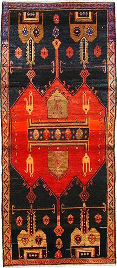 3' 6 x 8' 1 Navy Blue Sirjan Persian Rugs