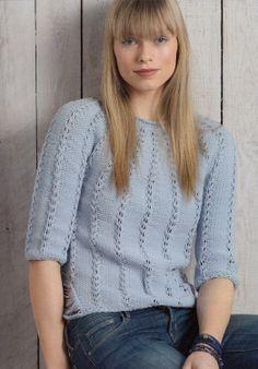 Modèle tricot n°04 du catalogue 107 : Femmes, Spécial expertes, Printemps/été 2014: Modèle pull top down femme. Fil AVISO