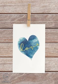 Blue Heart Love Free Printable for Valentines Day or Anytime | Simply Designing