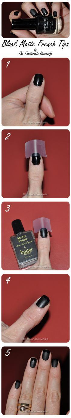 black french manicure tutorial - I imagine I could use almost any dark color polish.