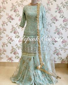 Powdered Blue Heavy Sequins Embroidered Sharara Set is in for any Fusion Ethnic Wear, most preferred just incase you want to stand out. Asian Bridal Dresses, Indian Gowns Dresses, Sleeves Designs For Dresses, Dress Designs, Mens Kurta Designs, Lehnga Dress, Afghan Dresses, Sharara, Pakistani Outfits