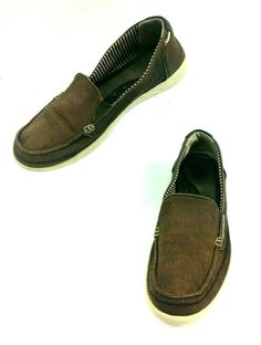 9b70c49cab78f5 Crocs Canvas Brown Loafers Boat Shoes Womens Size 7 Slip-ons  Crocs  Loafers