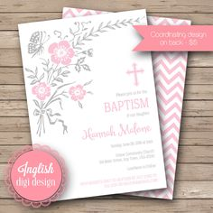 This sweet butterfly baptism invitation features adorable butterflies fluttering among leaves and pink flower blooms. Communion Invitations, Baptism Invitations, Printable Butterfly, Girl Baptism, Butterfly Party, Christening Gowns, Pale Pink, Parenting, Blouses