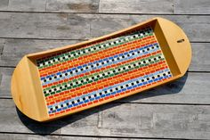 Serving tray colorful glass mosaic birch wood Maya by mimosaico