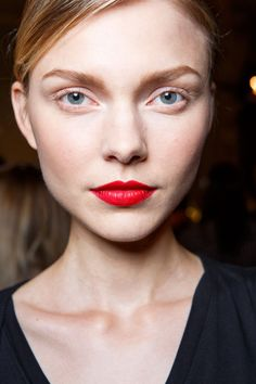 Sexy red lips!  Backstage at the Zac Posen runway show at New York Fashion Week Spring 2016.
