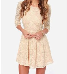Cream lace dress with 3/4 length sleeves