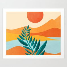 Mountain Sunset / Abstract Landscape Illustration Art Print by Moderntropical - X-Small Easy Canvas Art, Small Canvas Art, Landscape Illustration, Illustration Art, Guache, Abstract Landscape, Abstract Wall Art, Minimalist Art, Geometric Art