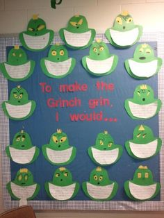 Grinch Party Bulletin board we did for Christmas this year. I had them write 1 way they would make the Grinch grin and 2 details about how they did it!