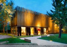 luca nichetto wraps beijing tales pavilion in 1,200 brass tubes - designboom