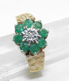 Emerald diamond cocktail ring - AntiquesAvenue vintage jewellery ...
