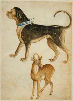 Lombardischer Meister (Meister des Tiermusterbuches von Weimar), Dogge und Gazelle, um 1400, Pinsel in Braun, Weiß, Rot und Blau