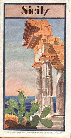 Sicily, circa 1930 Vintage Italian Posters, Vintage Travel Posters, Der Plan, Art Deco Posters, Vintage Italy, California Art, Map Art, Illustration, Ski Italy