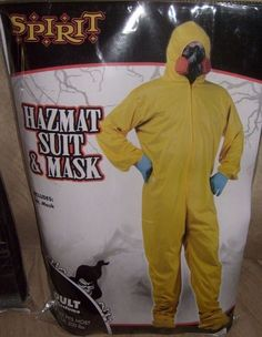 MEN'SYELLOW HAZMAT SAFETY SUIT & MASK HALLOWEEN COSTUME OSFM UP TO 200LBS NEW #HALLOWEENCOSTUME #CompleteOutfit