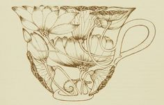 Win Ng: Originally from the book TeaCraft (1975) in which he collaborated with authors Violet and Charles Schafer. I love his illustrated tea cups and after experimenting with the use of line in class, this is a perfect example of not using line to define the hard outline of the tea cups. Using the flowers to define the main shape of the teacup has overcome having to draw harsh outlines first. I would like to possibly reattempt this method of drawing.