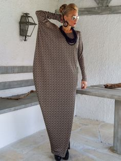 Fall Winter Knitted Asymmetric Maxi Dress Kaftan / Winter Warm Long Dress / Asymmetric Plus Size Dress / Oversize Loose Dress / Hijab Fashion, Diy Fashion, Womens Fashion, Mode Outfits, Casual Outfits, Taupe Maxi Dress, Mode Hippie, Style Casual, Mode Hijab