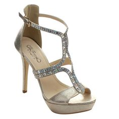 DE BENGONIA DE BENGONIA GD-06 Women's Back Zip Platform Buckle Strap Stiletto Dress Sandals in [light] gold from Sears — $28.79