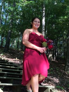Beautiful bridesmaid in a Merlot gown , flowers in burgundy, brown , wine  and a touch of purple  #willowsbywehr  #youngstown ohio weddings  330.482.2223  #columbiana ohio