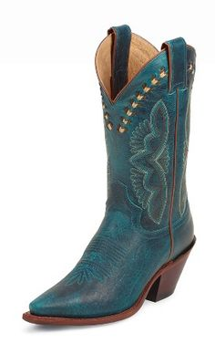 """Justin Boots Style:  L4302  Vamp:  Turquoise Damiana  Quarter:  Turquoise Damiana  Material:  Cowhide  Color:  Turquoise  Height:  11""""  Toe:  J3  Heel:  Y  Welt:  Single Stitched  Insole:  J-Flex Flexible Comfort System  Outsole:  Leather"""