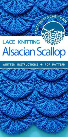Learn how to make these exquisite knitted Alsacian scallops. This lovely knitted lace pattern is great for baby blankets and borders. Tunisian Crochet Stitches, Knitting Stiches, Knitting Blogs, Knitting Charts, Knitting Patterns Free, Knitting Yarn, Free Knitting, Baby Blanket Knitting Pattern Free, Crochet Edging Patterns