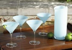 Opaline Blue Martini Collection - Flowers on Chestnut