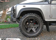 Grey Land Rover Defender with ADV6 Truck Spec Wheels