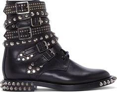 Saint Laurent Black Leather Studded Rangers Boot