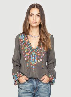 Pattern Type:Floral Sleeve Type:Long Sleeve Material:Cotton Neckline:V neck Style:Boho Theme:Spring/Fall Color:Red Brown,Yellow,Purple,Green,Gray Size. Look Boho Chic, Bohemian Style, Bohemian Jewelry, Estilo Hippie, Shirt Bluse, Cotton Blouses, Cotton Shirts, Boho Fashion, Fashion Design