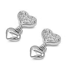 Bernadette's Silver Heart Shape Cubic Zirconia Dangle Earrings