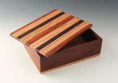 This box makes a great place to unload your pockets for the night! It can also be used to hold jewelry or keepsakes. Excellent workmanship and tastefully chosen contrasting woods make this a great item you will enjoy over and over. Lid is cherry, walnut and red oak. Sides are walnut with a red oak bottom. Box is approx. 5.5 long, 4 deep and 2 high. Nearly all the wood is recycled from larger projects of mine, or salvaged cutoffs from larger commercial woodworkers, garage sales, habitat for…