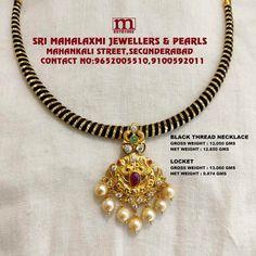 Thread Jewellery, Gold Jewellery Design, Beaded Jewelry, Antique Jewellery, Bridal Jewellery, Diamond Jewelry, Gold Choker Necklace, Gold Necklaces, Gold Jewelry Simple