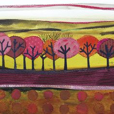 'Choir of Trees' By Mixed media Artist Helen Hallows. Blank Art Cards By Green Pebble. www.greenpebble.co.uk