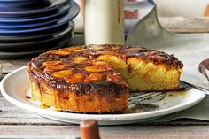 Caramel and apple upside-down cake