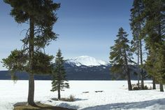 Diamond Lake, Oregon | Lake still covered in snow in early April. Mt. Bailey in the background.
