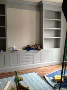 walls gray owl office built ins, living room built ins, built Room Colors, Paint Colors, Wall Colors, Colours, Gray Owl Paint, Living Room Built Ins, Entertainment Center Decor, Diy Fireplace, Grey Walls